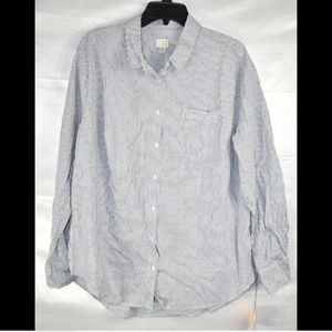 A New Day Women's Plus Size Polka Dot Button Down